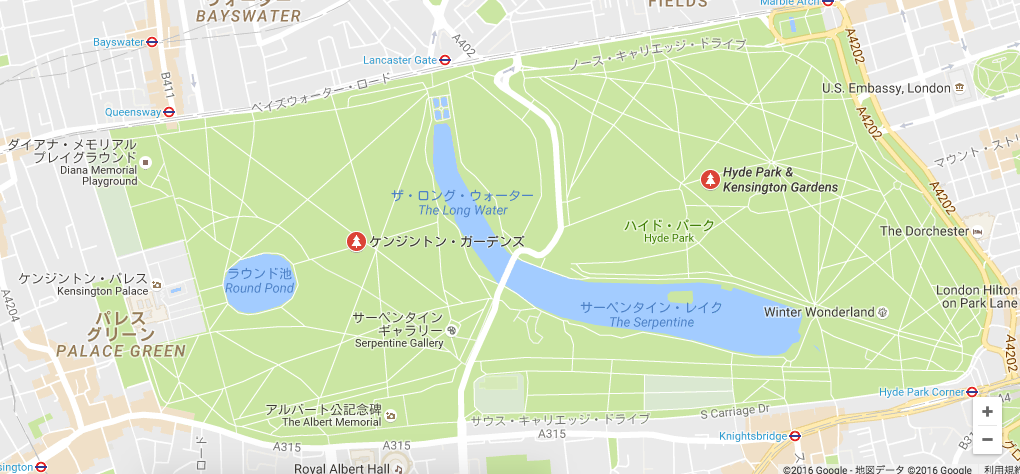 google map kensington garden